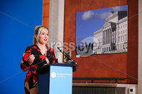 Press Eye - Belfast - Northern Ireland - 29th June 2020 -  . Deputy First Minister Michelle O\'Neill during the daily media broadcast in the Long Gallery at Parliament Buildings, Stormont on Monday.. Picture by Kelvin Boyes / Press Eye.