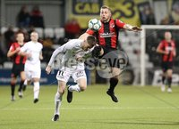 BetMcLean League Cup Third Round, Seaview, Belfast 9/10/2018. Crusaders FC v Ballinamallard United FC. Crusaders  David Cushley   and   Ryan O\'Reilly   of Ballinamallard United. Mandatory Credit @INPHO/Brian Little .