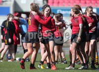 Press Eye Belfast - Northern Ireland 14th March 2019. Danske Bank Ulster Schools Girls X7s Senior Cup Final. Enniskillen Royal Grammar School(in red) vs Loreto Secondary School Letterkenny.. Enniskillen celebrate after winning the final. . . Picture by Jonathan Porter/PressEye.com