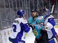 Press Eye - Belfast -  Northern Ireland - 06th April 2019 - Photo by William Cherry/Presseye. Belfast Giants\' Patrick Dwyer with Coventry Blaze\'s Nicolai Bryhnisveen during Saturday evenings PredictorBet Playoff Quarter Final 1st Leg game at the SSE Arena, Belfast. Photo by William Cherry/Presseye