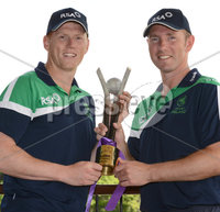 Mandatory Credit: Rowland White/Presseye. Cricket Ireland Press Conference to announce Squad for Austalian game at Stormont. Venue: Stormont. Date: 11th June 2012. Caption: Kevin O\'Brien, Ireland Vice-Captain and Andrew White with the RSA Trophy to be contested between Ireland and Australia at Stormont June 23