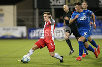 Bet McLean League Cup 3rd Round, Stangmore Park, Dungannon   8/10/2019. Dungannon Swifts FC  vs Linfield FC. Dungannon Swifts  Oisin Smyth and Joel Cooper  of Linfield .. Mandatory Credit  INPHO/Brian Little