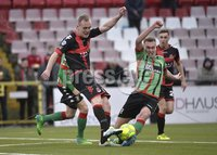 Danske Bank Premiership, Seaview Belfast.. Co Antrim 02/12/17. Crusaders v Glentoran. Mandatory Credit ©INPHO/Stephen Hamilton. Crusaders Jordan Owens  in action with Glentorans Calum Birney .
