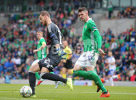 Press Eye Belfast - Northern Ireland 8th September 2018. UEFA Nations League 2019 Final Tournament at the National Stadium at Windsor Park.  Northern Ireland Vs Bosnia and Herzegovina. . Northern Ireland\'s Kyle Lafferty with Bosnia and Herzegovina\'s goalkeeper Ibrahim Šehić.. Picture by Jonathan Porter/PressEye.com