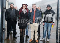 Press Eye - Belfast - Northern Ireland - 10th January 2018. Britain First leader Paul Golding(second from right) arrives at Belfast Magistrates Court, along with the deputy leader Jayda Fransen(second from left), where he was appearing after being charged with making a hate speech at Belfast City Hall last summer.  See copy by Alan Erwin/Laganside  Media. . Picture by Jonathan Porter/PressEye