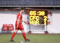 Press Eye - Belfast - 6th January 2018  . Cliftonville v Warrenpiont Town, Tennents Irish Cup 5th round at Solitude, North Belfast.. Cliftonville\'s Jamie McGovern leaves the pitch after receiving a straight red card. Picture by Matt Mackey / Inpho.ie