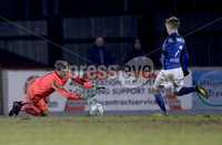 Danske Bank Premiership, Mourneview Park, Co. Armagh 3/4/2018 . Glenavon vs Linfield. Mandatory Credit ©INPHO/William Cherry. Glenavon\'s Josh Daniels with Linfield\'s Roy Carroll