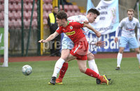 9th May 2018. Europa league play off semi final match between Cliftonville and Ballymena United at Solitude in Belfast.. Cliftonvilles Conor McDonald in action with Ballymena\'s Kofe Balmer. Mandatory Credit ©Inpho/Stephen Hamilton
