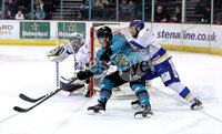 Press Eye - Belfast, Northern Ireland - 06th March 2020 - Photo by William Cherry/Presseye. Belfast Giants\' Liam Morgan with Fife Flyers\' James Isaacs during Friday nights Elite Ice Hockey League game at the SSE Arena, Belfast.   Photo by William Cherry/Presseye