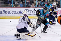 Press Eye - Belfast -  Northern Ireland - 03rd February 2019 - Photo by William Cherry/Presseye. Belfast Giants\' Darcy Murphy with Guildford Flames\' Chris Carrozzi during Friday nights Elite Ice Hockey League game at the SSE Arena, Belfast.   Photo by William Cherry/Presseye