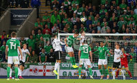 Press Eye - Belfast - Northern Ireland - 9th September 2019 . UEFA EURO Qualifier Group C at the National Stadium at Windsor Park, Belfast.  Northern Ireland Vs Germany. . Northern Ireland\'s Jonny Evans goes up for a corner in the Germany box. .  . Photo by Jonathan Porter / Press Eye.