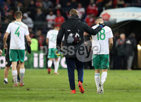 Press Eye - Belfast -  Northern Ireland - 12th November 2017 - Photo by William Cherry/Presseye. Northern Ireland\'s Aaron Hughes is dejected as he walks off the pitch after drawing 0-0 with Switzerland but lost the World Cup Play Off 1-0 over the two games.