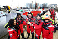Press Eye - Belfast -  Northern Ireland - 06th March 2016 - Photo by William Cherry. Angellica Bell, Ore Oduba, Hal Cruttenden, Doon Mackichan and Suzi Perry pictured with the BT Message In A Bottle. The celebrities will be swapping the comforts of the stage and studio for five days of nautical torture as they attempt to sail around the UK on the BT Sport Relief Challenge: Hell on High Seas. The One Show presenter Alex Jones was joined by her fellow celebrities in a mammoth challenge which will see them battle fearsome winds freezing temperatures and rough seas in a feat of pure physical mental and emotional endurance. The challenge is sponsored by BT a long-term supporter of Sport Relief challenges since 2009. Setting off from Belfast Harbour Marina on Monday 7th March the crew will attempt to sail to London around the north coast of the mainland in just 5 days finishing on Friday 11th March.