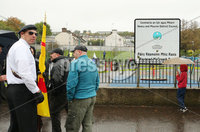 Press Eye - Belfast - Northern Ireland - 5th October 2019. Newry Republican Commemoration Committee parade through the town to Raymond McCreesh park to commemorate the hunger striker.  IRA volunteer Raymond McCreesh died in May 1981 as part of the Republican hunger strikes which seen 10 men die in the Maze prison.  A children\'s playpark in Newry was recently named after him. . A member of the Republican colour party which led the parade pictured at Raymond McCreesh park. . Picture by Jonathan Porter/PressEye