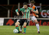 BetMcLean League Cup Round 3, The Oval, Belfast 10/10/2017. Glentoran vs Carrick Rangers. Glentoran\'s Curtis Allen and Carrick Rangers\' Denver Gage. Mandatory Credit ©INPHO/Matt Mackey