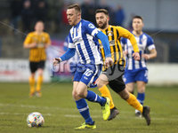 Tennent\'s Irish Cup Round 5, The Showgrounds, Co. Londonderry 5/1/2019. Coleraine vs H&W Welders. Coleraine\'s Ian Parkhill in action with H&W Welders Scott Davidson. Mandatory Credit INPHO/Matt Mackey