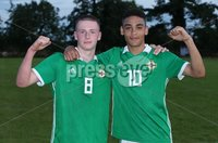 PressEye-Northern Ireland- 19th August  2019-Picture by Brian Little/PressEye. Northern Ireland U16 goal scorers Jamie McDonnell and Brodie Spencer  against  Estonia U16   during Monday evening\'s challenge match at Breda Park (Knockbreda FC).. Picture by Brian Little/PressEye .