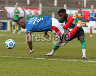 Danske Bank Premiership, The Oval, Belfast, Northern Ireland. 1/5/2021. Glentoran vs Linfield FC . Glentoran  Gael Bigirimana  and Linfield  Christy Manzinga . Mandatory Credit INPHO/Presseye/Brian Little