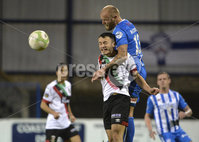 Bet Mclean league cup 3rd round . 8th October 2019. Coleraine  v Glentoran ay Ballycastle road, Coleraine. Coleraines Gareth McConaghie  in action with Glentorans Jonathan Frazer. Mandatory Credit INPHO/Stephen Hamilton.