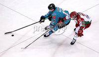 Press Eye - Belfast, Northern Ireland - 01st February 2020 - Photo by William Cherry/Presseye. Belfast Giants\' Matt Pelech with Cardiff Devils\' Joey Martin during Sunday afternoons Elite Ice Hockey League game at the SSE Arena, Belfast.   Photo by William Cherry/Presseye