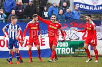 Danske Bank Premiership Play-Off, The Ballymena Showgrounds, Co. Antrim 7/4/2018 . Coleraine vs Cliftonville. Jay Donnelly of Cliftonville celebrates scoring . Mandatory Credit ©INPHO/Freddie Parkinson