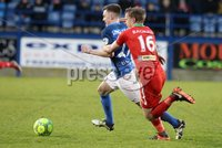 Danske Bank Premiership, Mourneview Park, Lurgan, Co. Armagh 13/1/2018. Glenavon vs Cliftonville. Glenavon\'s James Singleton with Liam Bagnall. of Cliftonville. Mandatory Credit ©INPHO/Declan Roughan