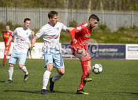 13th April 2019. Danske Bank Irish premiership. Cliftonville v Ballymena United at Solitude Belfast.. Cliftonville\'s Joe Gormley  in action with Ballymena\'s  Johnny Addis. Mandatory Credit -Inpho/Stephen Hamilton .
