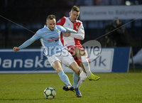 Danske Bank Premiership, The Showgrounds Ballymena 5/04/2019. Ballymena United v Linfield. Ballymena\' s Jude Winchester  with Linfield\'s Daniel Kearns. Mandatory Credit INPHO/Stephen Hamilton.