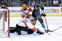 Press Eye - Belfast -  Northern Ireland - 06th January 2019 - Photo by William Cherry/Presseye. Belfast Giants\' Patrick Dwyer scoring against Sheffield Steelers during Sunday afternoons Elite Ice Hockey League game at the SSE Arena, Belfast.    Photo by William Cherry/Presseye