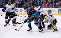 Press Eye - Belfast -  Northern Ireland - 03rd March 2019 - Photo by William Cherry/Presseye. Belfast Giants\' Jonathan Ferland with Manchester Storm\'s Matt McGinn during Sunday afternoons Elite Ice Hockey League game at the SSE Arena, Belfast.