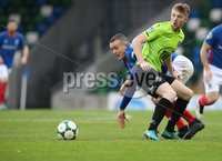 Danske Bank Premiership, Windsor Park, Belfast  3/11/2018. Linfield FC vs Warrenpoint Town. Linfield  Michael O\'Connor       and  Anton Reilly   of Warrenpoint Town.. Mandatory Credit @INPHO/Brian Little.