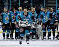 Press Eye - Belfast -  Northern Ireland - 06th April 2019 - Photo by William Cherry/Presseye. Belfast Giants\' Dustin Johner pictured with the Elite Ice Hockey League trophy after being crowned Champions at the SSE Arena, Belfast.       Photo by William Cherry/Presseye