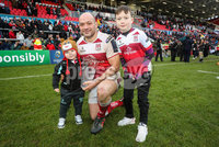 European Rugby Champions Cup Round 5, Kingspan Stadium, Belfast 13/1/2018. Ulster vs La Rochelle. Ulster\'s Rory Best celebrates with his sons Richie and Ben. Mandatory Credit ©INPHO/Ryan Byrne