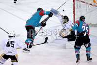 Press Eye - Belfast -  Northern Ireland - 12th January 2018 - Photo by William Cherry/Presseye. Belfast Giants Darcy Murphy has his shot blocked by  Nottingham Panthers netminder Patrick Galbraith during Friday nights Elite Ice Hockey League game at the SSE Arena, Belfast.