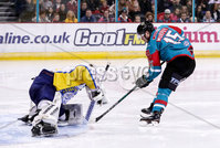 Press Eye - Belfast -  Northern Ireland - 09th February 2018 - Photo by William Cherry/Presseye. Belfast Giants Darcy Murphy with Fife Flyers Andy Iles during Friday nights Elite Ice Hockey League game at the SSE Arena, Belfast.