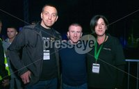 Picture -  Kevin Scott / Presseye. Belfast - Northern Ireland - Saturday 1st August 2015 - Feile Big Fight Night - (No Repro Fee) . Pictured is Paddy Barnes with festival managers Padraig O Muirigh and Mervyn Angela  at the Feile big fight night in Belfast, Northern Ireland . . Picture - Kevin Scott / Presseye