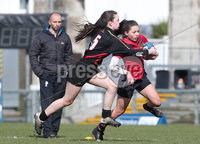 Press Eye Belfast - Northern Ireland 14th March 2019. Danske Bank Ulster Schools Girls X7s Senior Cup Final. Enniskillen Royal Grammar School(in red) vs Loreto Secondary School Letterkenny.. Enniskillen\'s Catherine Graham pushes forward against Loreto\'s LEAH GALLAGHER. . Picture by Jonathan Porter/PressEye.com