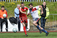 Press Eye Belfast - Northern Ireland 12th August 2017. Danske Bank Irish Premier league match between Cliftonville and Ards at Solitude Belfast.. Cliftonville\'s Daniel Hughes  in action with Ards Nathan Hanley.  Photo by Stephen  Hamilton / Press Eye