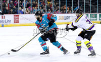 Press Eye - Belfast -  Northern Ireland - 11th February 2018 - Photo by William Cherry/Presseye. Belfast Giants Blair Riley with Manchester Storm\'s Dane Byers during Sunday afternoons Elite Ice Hockey League game at the SSE Arena, Belfast.