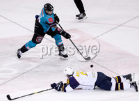Press Eye - Belfast -  Northern Ireland - 10th October 2018 - Photo by William Cherry/Presseye. Belfast Giants\' with Guildford Flames\' Calle Ackered during Wednesday nights Elite Ice Hockey League game at the SSE Arena, Belfast.        Photo by William Cherry/Presseye.
