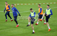 Press Eye - Belfast -  Northern Ireland - 11th November 2017 - Photo by William Cherry/Presseye. Northern Ireland\'s Jonny Evans and Kyle Lafferty during Saturday nights training session at St. Jakob-Park ahead of Sunday nights World Cup Play Off against Switzerland in Basel.