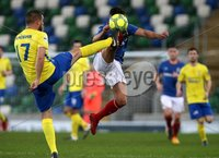 Danske Bank Premiership, Windsor Park, Belfast 2/12/2017 . Linfield vs Dungannon Swifts. Linfield\'s Jordan Stewart and Liam McMenamin of Dungannon Swifts. Mandatory Credit ©INPHO/Brian Little