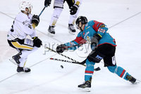 Press Eye - Belfast -  Northern Ireland - 12th January 2018 - Photo by William Cherry/Presseye. Belfast Giants Jonathan Ferland\'s stick breaks as he shoots with Nottingham Panthers Jeff Brown during Friday nights Elite Ice Hockey League game at the SSE Arena, Belfast.