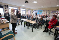 Press Eye - Belfast - Northern Ireland - 4th March 2018 -  . Secretary of State for Northern Ireland Karen Bradley MP began a day of engagements in Londonderry on Monday 5 March 2018 with a visit to Thornhill College where she toured the school, met staff and pupils, and heard about the impact of the current political situation on the education sector.. The Secretary of State is pictured with pupils from the political class.. Photo by Kelvin Boyes / Press Eye..