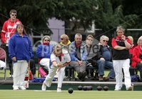 Northern Ireland- 18th June 2012 Mandatory Credit - Photo-Jonathan Porter/Presseye.  Bowls - Ladies British Isles Fours Final at Ward Park in Bangor Co. Down.  England vs Wales(red).  England\'s Kirsty Burnett bowls.