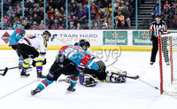 Press Eye - Belfast -  Northern Ireland - 11th February 2018 - Photo by William Cherry/Presseye. Belfast Giants David Rutherford scoring against Manchester Storm during Sunday afternoons Elite Ice Hockey League game at the SSE Arena, Belfast.