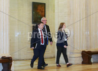 Press Eye - Belfast - Northern Ireland - 9th February 2018. UUP leader Robin Swan makes his way through the Great Hall at Parliament Buildings as local party talks continue at Stormont to try and get the Northern Ireland Assembly up-and-running again . Picture by Jonathan Porter/PressEye
