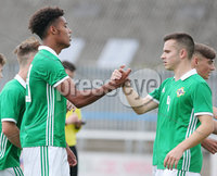 Press Eye Belfast - Northern Ireland 7th September 2018. U19 International Challenge Match - Northern Ireland Vs Slovakia at The Showgrounds, Newry.. Northern Ireland\'s Tyrone Lewthwaite(left) celebrates after scoring to make it 1-1. . Picture by Jonathan Porter/PressEye.com