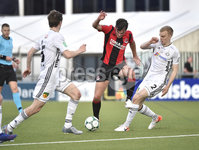 11th July 2019. Europa league First round qualifying match between Crusaders and B36 Torshavn at Seaview Belfast.. Crusaders Philip Lowry in action with Torshavns Andreas Erikson. Mandatory Credit / Stephen Hamilton/Inpho