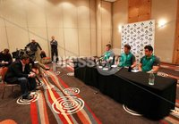 Ireland Rugby Press Conference, Crowne Plaza, Auckland, New Zealand 12/6/2012. Sean O\'Brien, Assistant Coach Gert Smal and Ronan Loughney during the press conference. Mandatory Credit ©INPHO/Billy Stickland